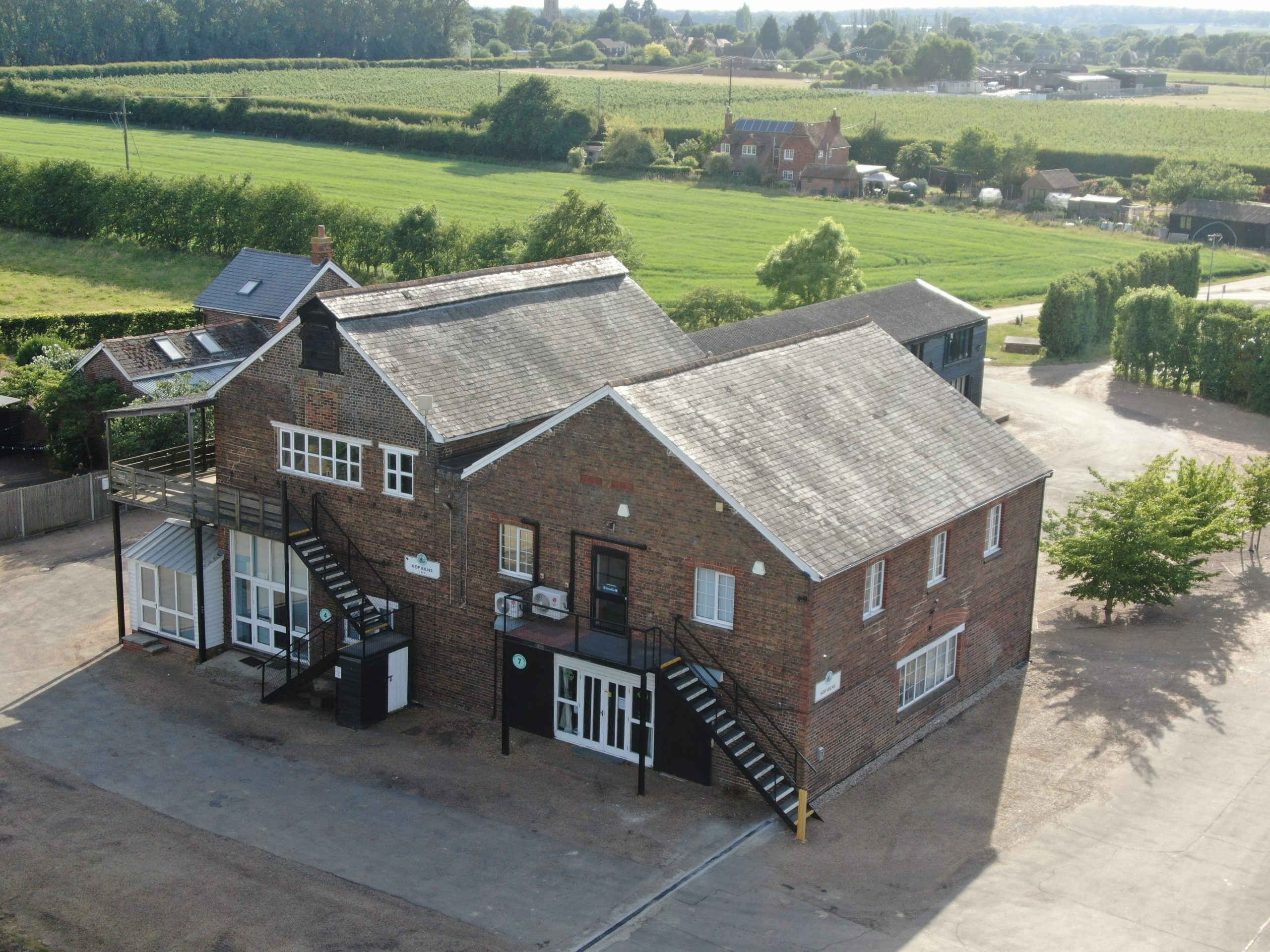 Exterior of Hop Kiln from Drone